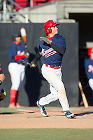 Tanner Man-Fix (65) of Olympic High School in Charlotte, North Carolina playing for the Atlanta Braves scout team at the South Atlantic Border Battle at Doak Field on November 2, 2014.  (Brian Westerholt/Four Seam Images)