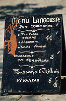 Europe/France/DOM/Antilles/Petites Antilles/Guadeloupe/Env de Sainte-Anne : Menu d'un restaurant