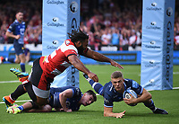 9th October 2021; Kingsholm Stadium, Gloucester, England; Gallagher Premiership Rugby, Gloucester versus Sale Sharks;  Curtis Langdon of Sale Sharks touches the ball down under pressure from Jamal Ford-Robinson of Gloucester