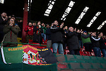 Glentoran 2 Cliftonville 1, 22/10/2016. The Oval, NIFL Premiership. Home supporters in the main stand applauding their team from the pitch at The Oval, Belfast after Glentoran hosted city-rivals Cliftonville in an NIFL Premiership match. Glentoran, formed in 1892, have been based at The Oval since their formation and are historically one of Northern Ireland's 'big two' football clubs. They had an unprecendentally bad start to the 2016-17 league campaign, but came from behind to win this fixture 2-1, watched by a crowd of 1872. Photo by Colin McPherson.