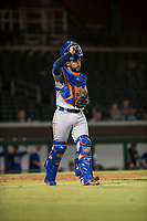 Scottsdale Scorpions catcher Ali Sanchez (25), of the New York Mets organization, during an Arizona Fall League game against the Mesa Solar Sox at Sloan Park on October 10, 2018 in Mesa, Arizona. Scottsdale defeated Mesa 10-3. (Zachary Lucy/Four Seam Images)