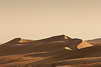 The undulating wind-sculpted shape of the sand dunes in the Wahiba Sands desert of Oman