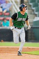 Kelby Tomlinson #2 of the Augusta GreenJackets hustles down the first base line against the Kannapolis Intimidators at CMC-Northeast Stadium on May 2, 2012 in Kannapolis, North Carolina.  The GreenJackets defeated the Intimidators 9-6.  (Brian Westerholt/Four Seam Images)