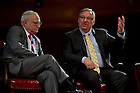 Sept. 4, 2012; Panelist Pastor Rick Warren answers a question as Rabbi David Saperstein listens during the kick-off event for the 2012-13 Notre Dame Forum: Conviction vs. Compromise: Being a Person of Faith in a Liberal Democracy at the DeBartolo Performing Arts Center. Photo by Barbara Johnston/University of Notre Dame