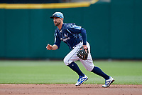 Columbus Clippers second baseman Jon Berti (7) during a game against the Gwinnett Stripers on May 17, 2018 at Huntington Park in Columbus, Ohio.  Gwinnett defeated Columbus 6-0.  (Mike Janes/Four Seam Images)