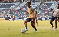 KANSAS CITY, KS - JULY 15: Gianluca Busio #6 of the United States warming up before a game between Martinique and USMNT at Children's Mercy Park on July 15, 2021 in Kansas City, Kansas.