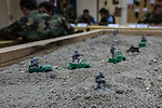 Small figurines used during theoretical classes of the Afghan National Army's students, Kabul, Afghanistan, 6th November 2017.<br /> <br /> Petites figurines utilisées lors des cours théoriques des étudiants de l'Armée nationale afghane, Kaboul, Afghanistan, 6 novembre 2017.