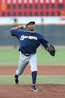 Milton Gomez #22 of the AZL Brewers pitches against the AZL Reds at the Cincinnati Reds Spring Training Complex on July 5, 2014 in Goodyear Arizona. AZL Reds defeated the AZL Brewers, 7-2. (Larry Goren/Four Seam Images)