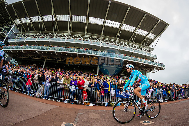 Vincenzo Nibali (ITA) Astana at sign on at York Racecourse before the start of Stage 2 of the 2014 Tour de France running 200km from York to Sheffield. 6th July 2014.<br /> Picture: Thomas van Bracht/Peloton Photos/www.newsfile.ie