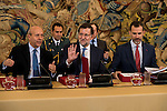 The Minister of Education Jose Ignacio Wert, Prime Minister Mariano Rajoy and King Felipe VI of Spain during a royal audience with the board of the Carolina Fundation at Zarzuela Palace in Madrid, Spain. June 17, 2015.<br />  (ALTERPHOTOS/BorjaB.Hojas)