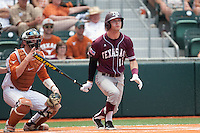 Texas A&M Aggies outfielder Tyler Naquin #18 swings during the NCAA baseball game against the Texas Longhorns on April 28, 2012 at UFCU Disch-Falk Field in Austin, Texas. The Aggies beat the Longhorns 12-4. (Andrew Woolley / Four Seam Images)..