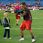 FC Barcelona's Neymar Santos Jr celebrates with his son and Gerard Pique's son the victory in the Spanish Kings Cup Final match. May 22,2016. (ALTERPHOTOS/Acero)