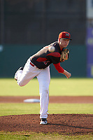 Batavia Muckdogs starting pitcher Remey Reed (32) delivers a warmup pitch during a game against the Tri-City ValleyCats on July 15, 2017 at Dwyer Stadium in Batavia, New York.  Tri-City defeated Batavia 5-4.  (Mike Janes/Four Seam Images)