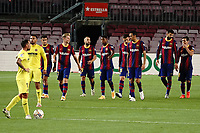 27th September 2020; Camp Nou, Barcelona, Catalonia, Spain; La Liga Football, Barcelona versus Villareal; Bartcelona players celebrate after scoring their 4th goal from an own goal by Pau Torres of Villareal in the 45th minute
