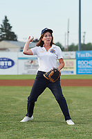 Lieutenant Governor Kathy Hochul throws out a ceremonial first pitch before a Batavia Muckdogs game against the Auburn Doubledays on July 6, 2017 at Dwyer Stadium in Batavia, New York.  Auburn defeated Batavia 4-3.  (Mike Janes/Four Seam Images)