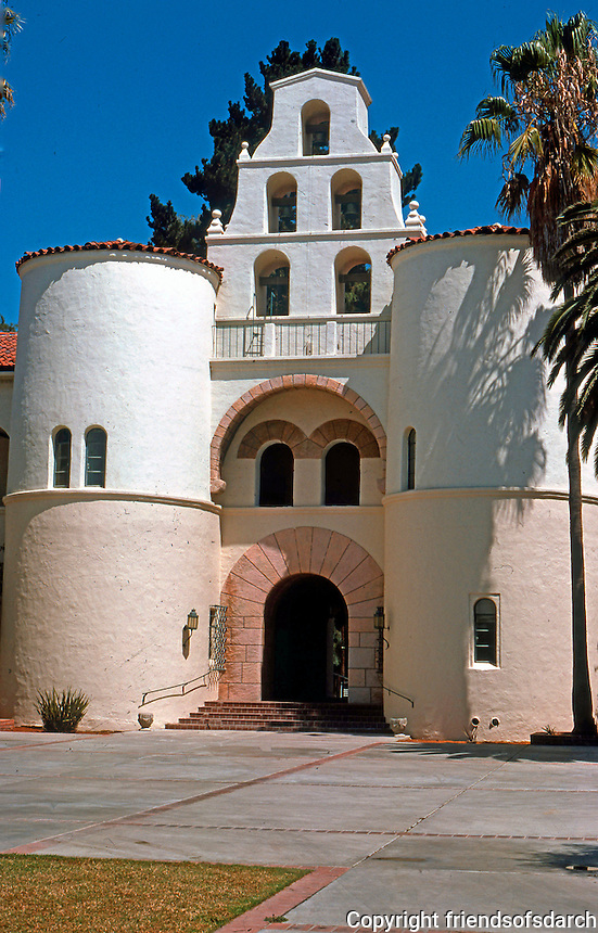 """Mission Revival Houses, Buildings: San Diego State, """"Mission Revival Knockoff"""". WPA project? Photo '78."""