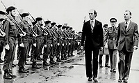 Brussels: Canadian Prime Minister Pierre Trudeau with Belgian Prime Minister Leo Tindemans review the honor guard during welcoming ceremonies at Zaventum airport in Brussels.<br /> <br /> Photo : Boris Spremo - Toronto Star archives - AQP