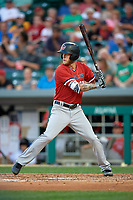 Rochester Red Wings center fielder Jeremy Hazelbaker (21) at bat during a game against the Indianapolis Indians on July 24, 2018 at Victory Field in Indianapolis, Indiana.  Rochester defeated Indianapolis 2-0.  (Mike Janes/Four Seam Images)