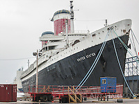 The ocean liner S.S. United States berthed in Philly. Once plying the seas with thousands of passengers,she is awaiting redevelopment, perhaps as a convention center.