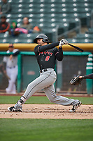 Derrik Gibson (8) of the  Albuquerque Isotopes bats against the Salt Lake Bees at Smith's Ballpark on April 8, 2018 in Salt Lake City, Utah. Albuquerque defeated Salt Lake 11-4. (Stephen Smith/Four Seam Images)