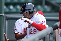 Left fielder  Carlos Mesa (28) of the Greenville Drive shouts after hitting a home run in a game against the Hagerstorn Suns on May 12, 2015, at Fluor Field at the West End in Greenville, South Carolina. Greenville won, 4-0. (Tom Priddy/Four Seam Images)