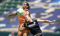 Sky Blue FC's Rosana, left, and Brittany Bock, right, battle for a head ball during a Sky Blue FC 1-0 victory over the LA Sol at  the WPS Championship match at the Home Depot Center, Saturday, August 22, 2009.