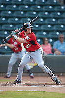 Pat McInerney (29) of the Carolina Mudcats at bat against the Winston-Salem Dash at BB&T Ballpark on June 1, 2019 in Winston-Salem, North Carolina. The Mudcats defeated the Dash 6-3 in game one of a double header. (Brian Westerholt/Four Seam Images)