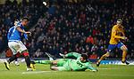 26.12.2019 Rangers v Kilmarnock: Laurentiu Branescu gets a foot to the ball to prevent Alfredo Morelos adding a second goal