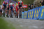 Danish Champion Kasper Asgreen (DEN) Elegant-Quick Step leads Dutch Champion Mathieu van der Poel (NED) Alpecin Fenix up the Paterberg during the 2021 Tour of Flanders running 254.3km from Antwerp to Oudenaarde, Belgium. 4th April 221.  <br /> Picture: Serge Waldbillig | Cyclefile<br /> <br /> All photos usage must carry mandatory copyright credit (© Cyclefile | Serge Waldbillig)