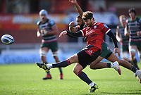 30th August 2020; Kingsholm Stadium, Gloucester, Gloucestershire, England; English Premiership Rugby, Gloucester versus Leicester Tigers; Danny Cipriani of Gloucester kicks to touch under pressure  from Zack Henry of Leicester Tigers