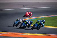 VALENCIA, SPAIN - NOVEMBER 8: Nicolo Bulega, Andrea Migno, Andrea Locatelli during Valencia MotoGP 2015 at Ricardo Tormo Circuit on November 8, 2015 in Valencia, Spain