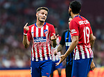 Saul Niguez Esclapez of Atletico de Madrid speaks with teammate Diego Costa during their International Champions Cup Europe 2018 match between Atletico de Madrid and FC Internazionale at Wanda Metropolitano on 11 August 2018, in Madrid, Spain. Photo by Diego Souto / Power Sport Images