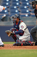 Fort Myers Miracle catcher Brian Navarreto (22) awaits the pitch during a game against the Tampa Yankees on April 12, 2017 at George M. Steinbrenner Field in Tampa, Florida.  Tampa defeated Fort Myers 3-2.  (Mike Janes/Four Seam Images)