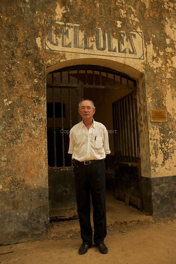 Serge Colin, ancien capitaine de la marine marchande, guide historique depuis 13 ans sur l'île Royale.Iles du Salut au large de Kourou.