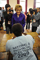 Democratic Alliance leader Helen Zille casts her ballot at a polling station in Rondebosch on the day of the 2009 general election.