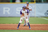 Joe Johnson (15) of the High Point Panthers takes his lead off of first base against the Campbell Camels at Williard Stadium on March 16, 2019 in  Winston-Salem, North Carolina. The Camels defeated the Panthers 13-8. (Brian Westerholt/Four Seam Images)