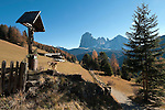 Italien, Suedtirol, Dolomiten, Groednertal, Wanderweg oberhalb von St. Ulrich mit Langkofel | Italy, South Tyrol, Alto Adige, Dolomites, Val Gardena, hiking trail above Ortisei with Sassolungo mountain