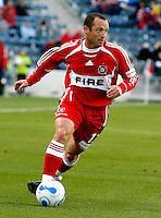 Chicago Fire forward Pascal Bedrossian (13) dribbles toward the FC Dallas goal.  FC Dallas defeated the Chicago Fire 2-1 at Toyota Park in Bridgeview, IL on May 17, 2007.