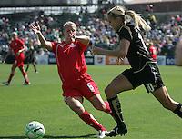 Leslie Osborne (10) and Lori Lindsey (6). Washington Freedom defeated FC Gold Pride 4-3 at Buck Shaw Stadium in Santa Clara, California on April 26, 2009.