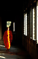 The Images from the Book Journey through Color and Time, 2006, Cambodia,Buddhist Monk in the Corridor of Angkor Wat