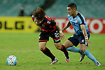 SYDNEY - APRIL 05:  Won Jin Jung of Pohang Steelers is challenged by Ali Abbas of Sydney FC during the AFC Champions League group H match between Sydney FC and Pohang Steelers on 05 April 2016 held at Sydney Football Stadium in Sydney, Australia. Photo by Mark Metcalfe / Power Sport Images  (Photo by Power Sport Images/Photo by Mark Metcalfe  / Power Sport Images) *** Local Caption *** Won Jin Jung;Ali Abbas