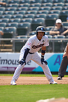 Somerset Patriots Oswald Peraza (30) leads off first base during a game against the Hartford Yard Goats on September 12, 2021 at TD Bank Ballpark in Bridgewater, New Jersey.  (Mike Janes/Four Seam Images)