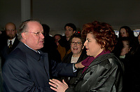 Montreal, Dec 3rd, 2001<br /> Quebec Premier Bernard Landry (L), shake hands with Quebec State Minister for Culture and Communications ; Diane Lemieux (R)<br /> at the official launch of the new Quebec Library's (Grande Bibliothcque du QuÈbec )construction on Berri street in Montreal, CANADA, Monday december 3rd, 2001, while the President and General Director of the Quebec Librairy ; Lise Bisonette (M) look on.<br /> <br /> (Photo by Pierre Roussel - Images Distribution)