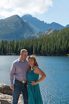 engagement portrait of Julie and Adam at Bear Lake on a summer morning in Rocky Mountain National Park, Colorado , USA