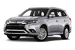 Stock pictures of low aggressive front three quarter view of a 2019 Mitsubishi Outlander PHEV Intense 5 Door SUV