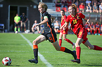 Isa Kardinaal (4) of the Netherlands and Margaux Martle (10) of Belgium  in action during an international friendly female soccer game between the national teams of Belgium , called the Red Flames U17 and the Netherlands on Wednesday 8th of September 2020  in Kalmthout , Belgium . PHOTO SPORTPIX.BE | SPP | SEVIL OKTEM