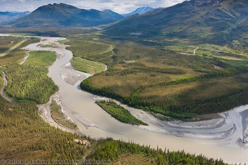 Aerial of the Koyukuk River in the Brooks Range mountains, town of Wiseman, James Dalton Highway and trans Alaska oil pipeline, Alaska.