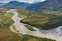 Aerial of the Koyukuk River in the Brooks Range mountains, town of Wiseman, James Dalton Highway and trans Alaska oil pipeline, Alaska.