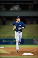 AZL Brewers left fielder Jesus Lujano (26) jogs to the dugout during a game against the AZL Cubs on August 6, 2017 at Sloan Park in Mesa, Arizona. AZL Cubs defeated the AZL Brewers 8-7. (Zachary Lucy/Four Seam Images)