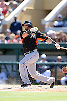 Miami Marlins catcher Jarrod Saltalamacchia (39) during a spring training game against the Detroit Tigers on March 13, 2014 at Joker Marchant Stadium in Lakeland, Florida.  Miami defeated Detroit 4-2.  (Mike Janes/Four Seam Images)